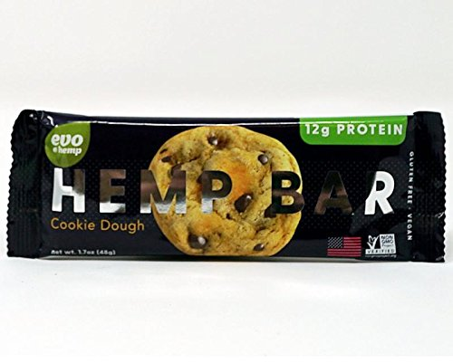 Evo Hemp Organic Protein Bar (Cookie Dough, 12 Pack) Featuring White Plume Native American Hemp - Great Tasting High Fiber, Sustainably Sourced, Paleo and Vegan Friendly Protein Bar