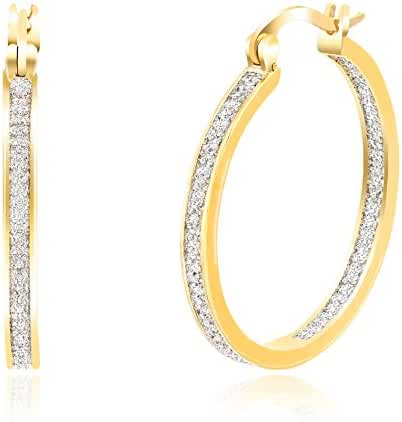 Lumineux Diamond Womens Single Line Diamond Accents Hoop Earrings with Yellow Gold Plated Brass, 20mm