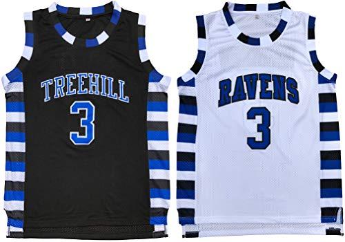 Lucas Scott #3 One Tree Hill Ravens Throwback Basketball Jersey S-XXL (Medium, Black) (Tree Hill Ravens Jersey)