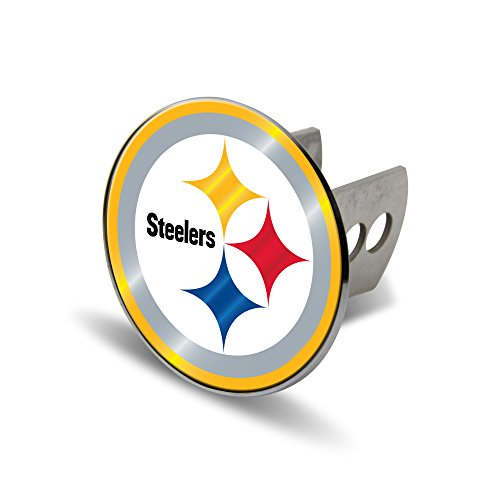 NFL Pittsburgh Steelers Laser Cut Metal Hitch Cover, Large, Silver (Silver Steelers Metal Pittsburgh)