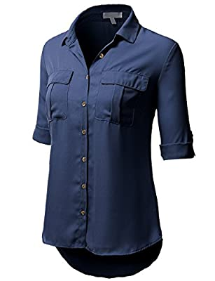 H2H Womens Casual Chiffon Blouse Short Rolled Up Sleeve Top Shirts With Chest Two Pocket