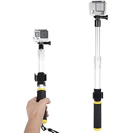 First2savvv amarillo Transparente Material del flotador extensión flotante Extensible selfie Polo Monopod con el clip de montaje remoto para Hero ...