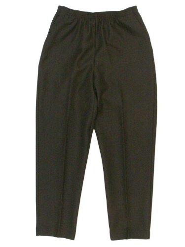 Alfred Dunner Petites' Pull-on Flat-front Pants Black (Capri Pants Slacks)