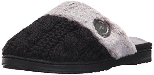 Dearfoams Womens Cable Knit Closed Toe Scuff Black Iemq3xC5p6