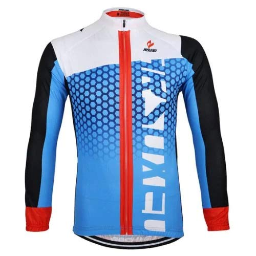 Yiqiane Fahrradbekleidung Arsuxeo ZLJ21Q Atmungsaktive Männer Radtrikot Langarm Fahrrad Outdoor Sports Running Kleidung für draußen (Color : Blau, Size : XL)