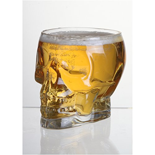 Glass Skull Shaped Decorative Vase / Beer Glass / Unique Bar Glassware - MyGift