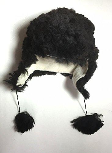 (HANDMADE Size 7 Wool Alpaca Black Winter Unisex Russian Ushanka Earflap Hat)