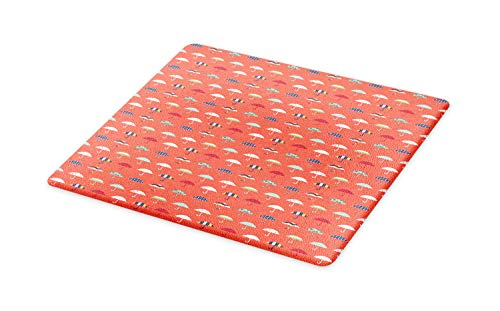 Lunarable Doodle Cutting Board, Pastel Umbrella with Polka Dots Stripes Childish Urban, Decorative Tempered Glass Cutting and Serving Board, Large Size, Burnt Sienna and Multicolor (Burnt Sienna Glass)