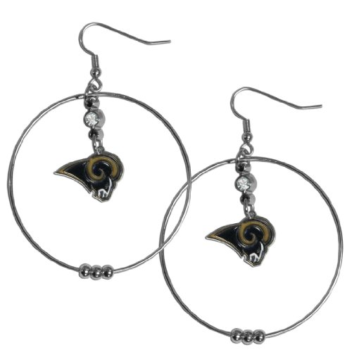 NFL St. Louis Rams Hoop Earrings, 2-Inch - Louis Rams Crystal Earring