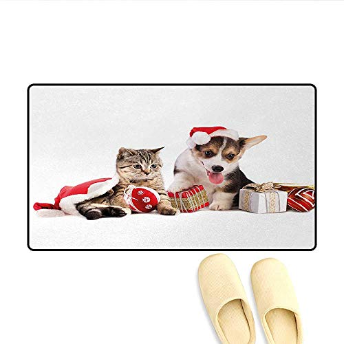 Bath Mat,Dog and Cat in Santa Hats with Surprise Boxes and Balls New Year Celebration,Floor Mat Pattern,Red White Brown,Size:24