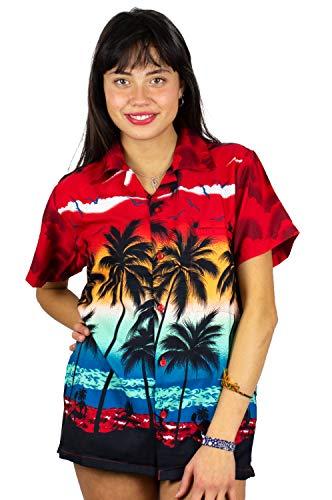 (Funky Hawaiian Shirt for Women, Beach, red, XL)