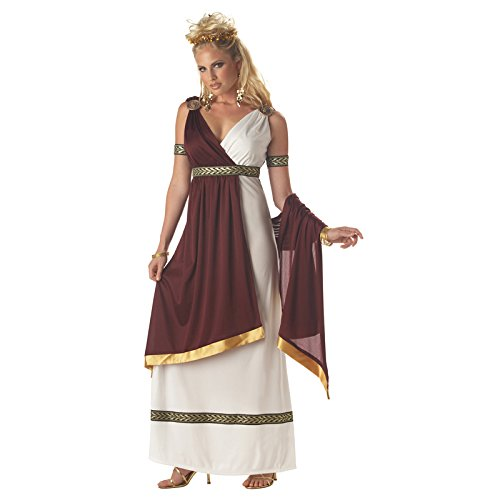 California Costumes Women's Roman Empress Costume,White/Burgundy, Small