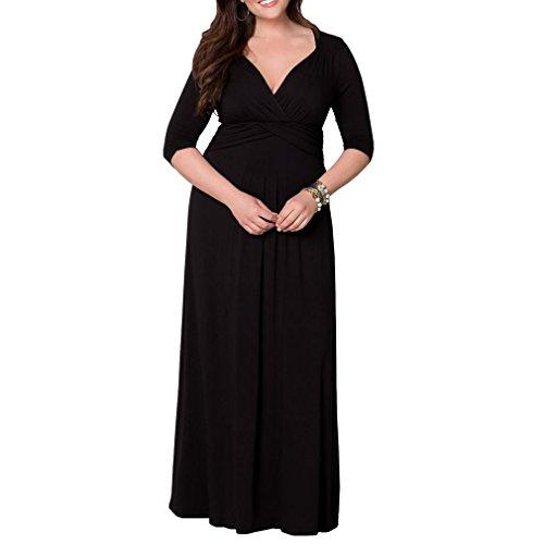 Honghu mujeres de cuello en V patrón maxi largo vestido más el tamaño de media manga vestido formal Negro