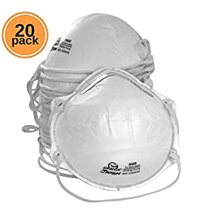 AMSTON Dust Masks, N95 NIOSH-Certified (Box of 20) Personal Protective Equipment / PPE Particulate Respirators for Construction, Home Improvement, & DIY Projects