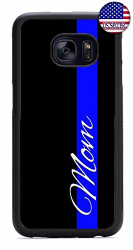 Deal Market LLC - Thin Blue Line Police Mom -Hot NEW design Hard Rubber Case for Samsung S4, Includes 2 screen protectors & Delivered in 8 days Guaranteed.Style 6 (Samsung S4 Police Case)