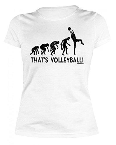 Lustiges Damen T-Shirt - Volleyballer Evolution - Witziges Motivshirt als tolle Geschenk Idee für Volleyball Sport Fan