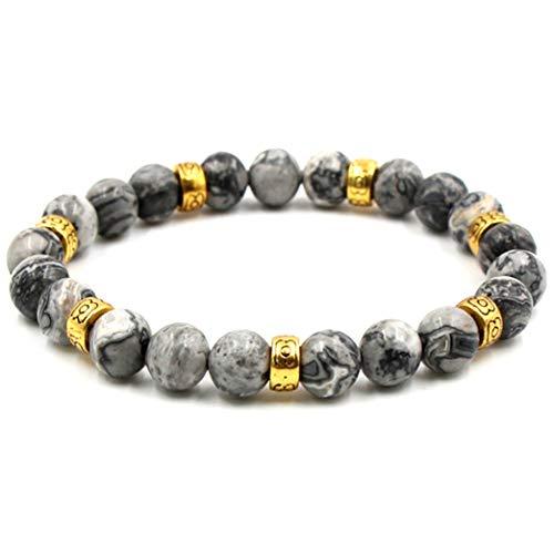 BaiYunPOY 8mm Handmade Charm Prayer Beaded Yoga Bracelet for Men Women - Natural Energy Beads Bracelet Healing Bangle - Reiki Alabaster Agate