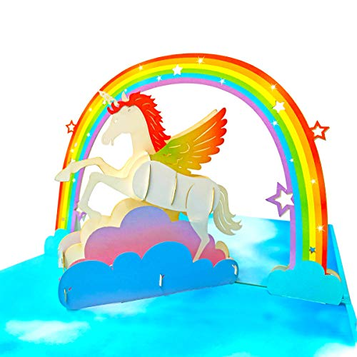 - Unicorn Birthday Card,3D Pop Up Birthday Cards Unicorn & Rainbow Pop Up Greeting Card birthday gifts for kids with Envelope and Glue 1 Pack