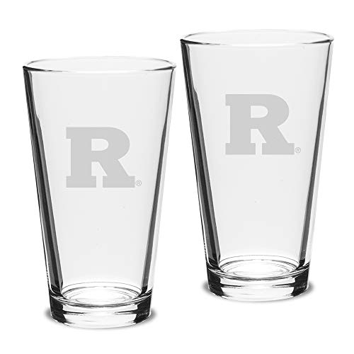 (NCAA Rutgers Scarlet Knights Adult Set of 2 - 16 oz Pub Mixing Glasses Deep Etch Engraved, One Size, Clear)