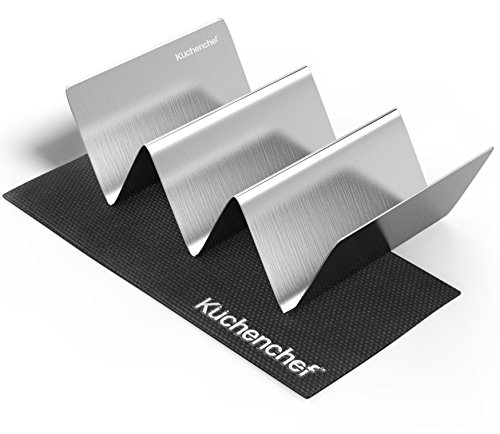 Taco Holder and Place Mat - 1 Pack - Stainless Steel - Extra Large 8 inches x 5 Inches - Taco Rack - Oven (Fish Flour)