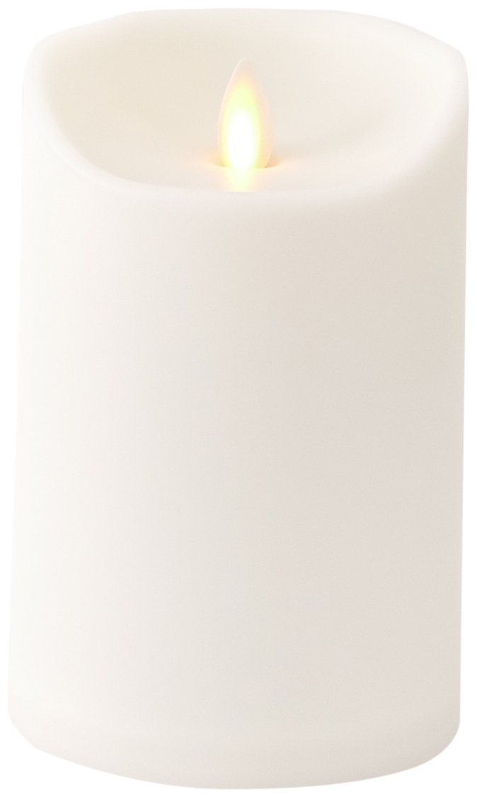 Liown Outdoor Moving Flame Candle: LED Battery Operated Waterproof Plastic Flickering Indoor Outdoor Flameless Candles with Timer (5'' Ivory)