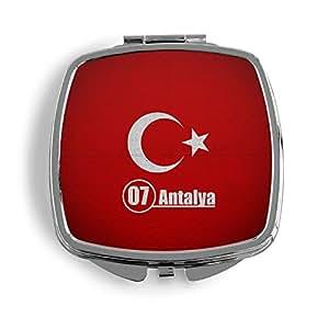 Antalya 07Türkiye Turquía metal Espejo de bolso cosmético Beauty–Espejo plegable Impreso Funda Turkey BAYRAK