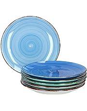 MamboCat 6-TLG. Taartbordenset Blue Baita rond dessertbord ontbijtbuffet serveerplaat klein blauwe nodel-decoraties ovenbestendig aardewerk maritiem