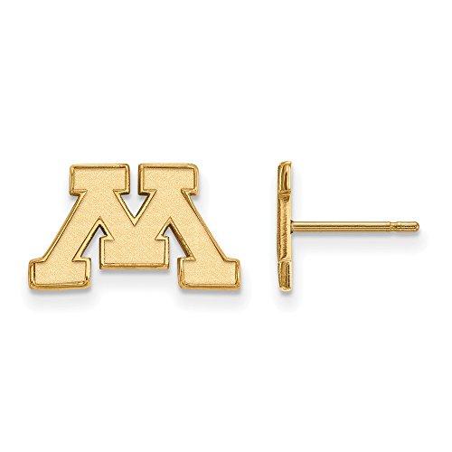 10k Yellow Gold LogoArt Official Licensed Collegiate University of Minnesota (UMN) XS Post Earrings by LogoArt
