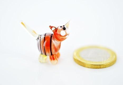 Red Tiger Mini Statuetta In Miniatura Figura Gatto In Vetro Rosso