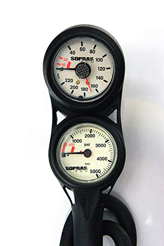 3 Dive Console Gauge - Sopras Sub SPG 3 Gauge Console with Analog Imperial Depth Gauge PSI Gauge Compass with Hose Scuba Diving