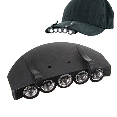 Linyuan Deft Design Black Clip-On 5 LED Head Cap Hat Light Head Lamp Torch Fishing Camping Hunting