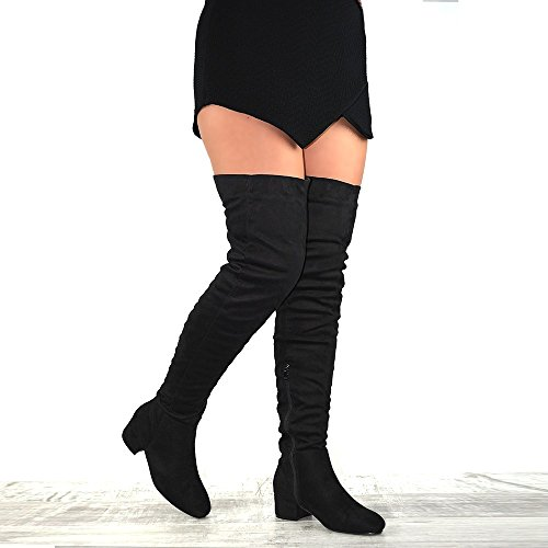 Essex Glam Womens Faux Suede Over The Knee Thigh High Cut Out Boots Black Faux Suede 7gOfpJ