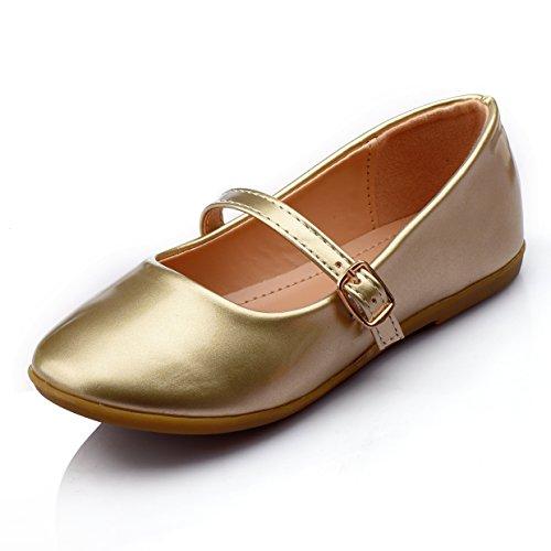 Nova Utopia Toddler Little Girls Dress Ballet Mary Jane Bow Flat Shoes,NF Utopia Girl NFGF060New Gold 3 ()