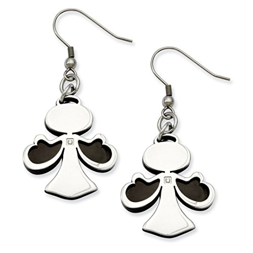 Stainless Steel Black Plated Cubic Zirconia Cz Angel Drop Dangle Chandelier Earrings Religious Fashion Jewelry Gifts For Women For Her ()