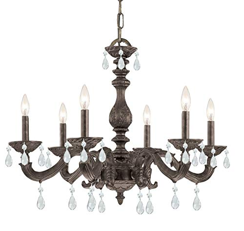 5036-VB-CL-MWP Sutton 6LT Chandelier, Venetian Bronze Finish with Clear Hand Cut Crystals - Mwp Venetian Bronze Finish