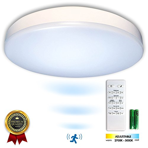 Premium 14 Flush Mount LED Ceiling Light Fixture with Motion Sensor, Remote Control & Timer - Dimmable & Adjustable Light Color (Warm 2700K-5000K Cool) - Bedroom, Dining Room, Bathroom and Closet