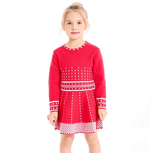 SMILING PINKER Girls Knit Sweater Dress Argyle Crewneck Long Sleeve Winter Party Dress (red, -