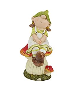 NorthLight 2 Assorted Young Boy And Girl Gnome On A Mushroom Outdoor Patio Garden Figures - 11 in.