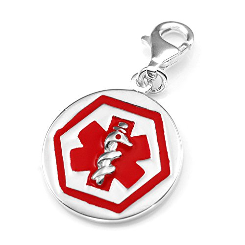 StickyJ USA Sterling Silver Round Red Medical Alert Charm
