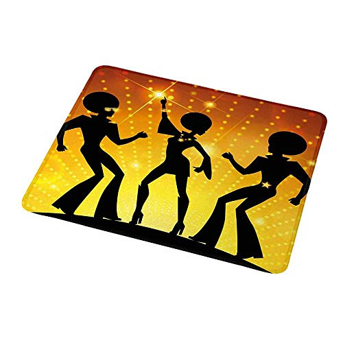 Mouse Pad Custom Design 70s Party,Dancing People in Disco Night Club with Afro Hair Style Bokeh Backdrop,Orange Yellow Black,Non-Slip Rubber Comfortable Customized Computer Mouse Pad 9.8