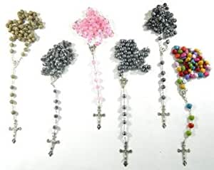 Set of 6 holy pray Rosario rosary rosaries, Resin, Glass, Plastic- New