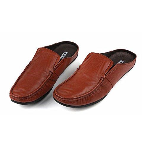 Santimon-mannen Comfortabele Zachte Lederen Backless Slippers Vrije Tijd Instappers Loafers Slippers Schoenen Bruin