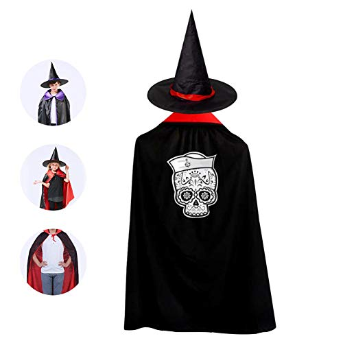 Marinero Muerto Sugar Skull Children's Halloween role playing cloak and Wizard Hat Halloween Dance Dress decoration Red