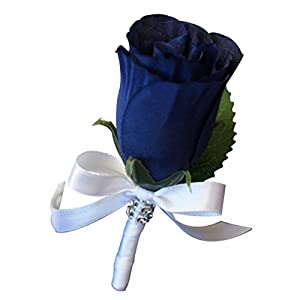 Boutonniere - Artificial Navy Blue Rosebud with White Ribbon. Pin Included. 48