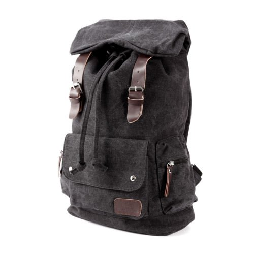 The Pecan Man Black Vintage Canvas Satchel School Bag Travel Backpack