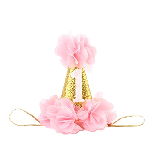 CHUANGLI Baby Flower Hair Accessories Crown 1st Birthday Party Hat Princess Hairband Pink