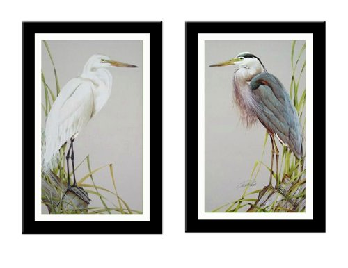 'AMERICAN EGRET/GREAT BLUE HERON' L/E 2 Piece Bird art FR...