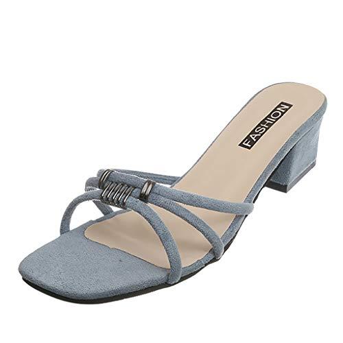 Midress Womens Open Toe Chunky Heel Slides Block High Heel Dress Sandals Slip On Shoes for Summer Womens Flat Sandals ()