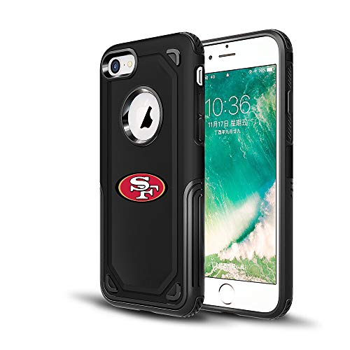 49ers iPhone 6s Tough Electroplate Case, 3 in 1 Ultra-thin Smooth Anti-Scratch PC Hard Back Case Full Cover for iPhone 6 / 6s - Black ()