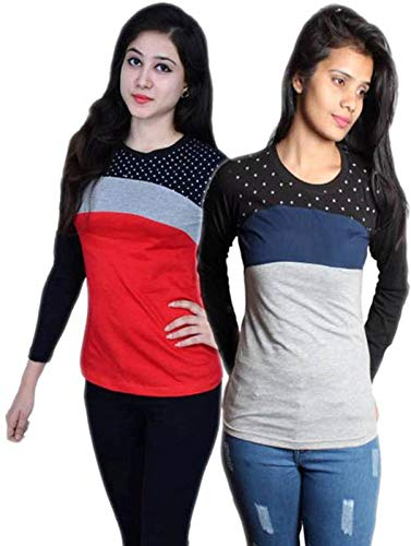 Himgiri International Color Block, Printed Women Round Neck Multicolor T Shirt